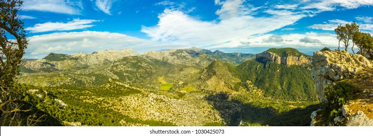 Panoramic View at Castel Alaro in Mallorca Alaro Castle, Tramuntana Majorca Spain Village