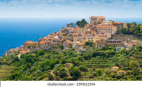 Panoramic view of Castellabate with the sea in the background. Cilento, Campania, southern Italy.