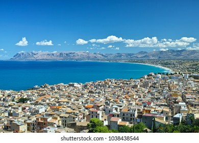 Panoramic view of Castellammare del Golfo town, Trapani, Sicily, Italy