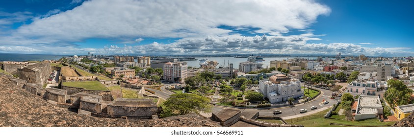 Panoramic view from Castillo de San Cristobal along Munoz Rivera to old town with the harbor in the background