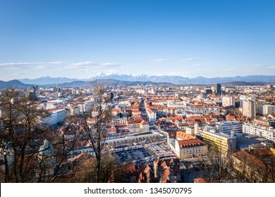 Panoramic view from castle over old town Ljubljana to mountain ranges Karawanks and Kamnik–Savinja Alps in Slowenia, Europe