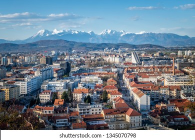 Panoramic view from castle over old town Ljubljana to mountain range Kamnik–Savinja Alps in Slowenia, Europe