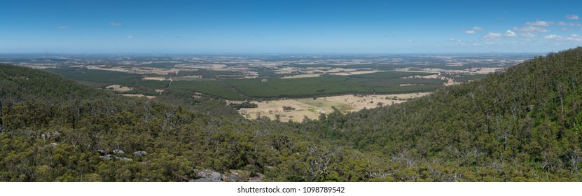 Panoramic view from the Castle Rock over the landscape of the Porongurup National Park close to Albany, Western Australia