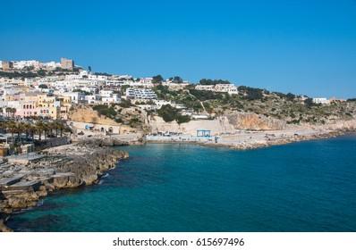 Panoramic view of Castro, a village near adriatic sea in Salento, Italy