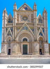 Panoramic view of Cathedral of Orvieto (Duomo di Orvieto), Umbria, Italy