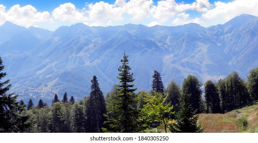 Panoramic view of the Caucasian mountains in the area of Rosa Khutor