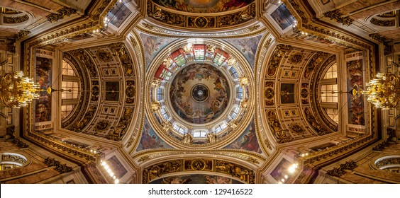 Panoramic view of the ceiling of Saint Isaac's Cathedral (Isaakievskiy Sobor) in Saint Petersburg, Russia