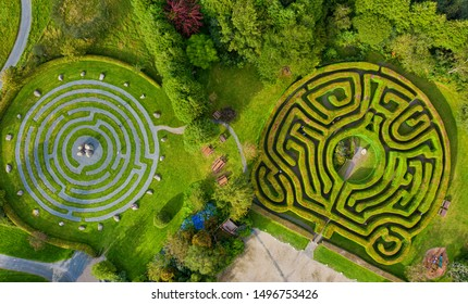 Panoramic view of a Celtic maze in Wicklow, Ireland.maze in the grass