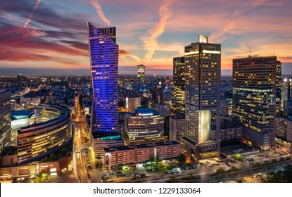 Panoramic view from the center of Warsaw in the evening