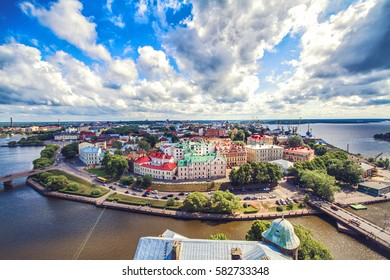 Panoramic view of the central part of the city from the tower of St. Olaf Vyborg Castle, Leningrad region, Saint-Petersburg, Russia. Sunny summer day