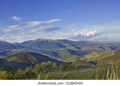 panoramic view from Cerdanya, pre-pyrenees, Catalonia (Spain)