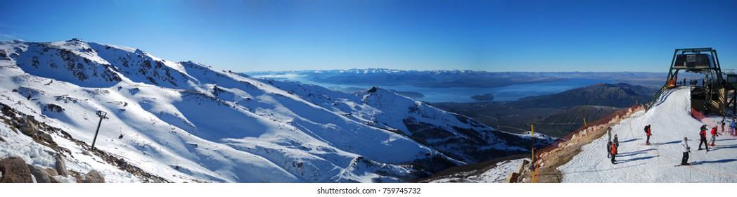 Panoramic view of Cerro Catedral, a ski resort in Bariloche, Argentina.