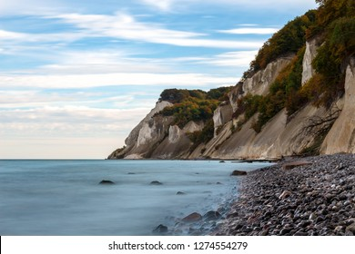 panoramic view of chalk cliffs at the coast of the Danish island of Moen near the park of Lieselund