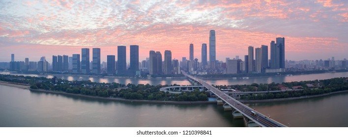 panoramic view of changsha skyline in sunrise, China