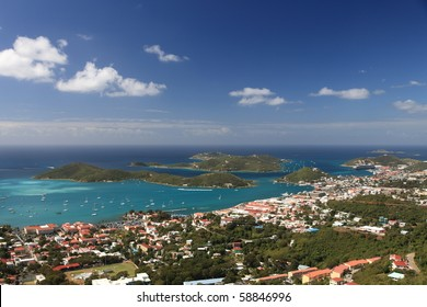 Panoramic view of Charlotte Amalie on Saint Thomas, US Virgin Islands