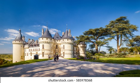 Panoramic view of Chateau de Chaumont-sur-Loire, France. This medieval castle is one of the landmarks in Loire Valley. People visit the old castle in summer. Scenery of the famous Renaissance castle.