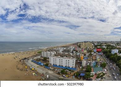 Panoramic view of Chennai Marina Beach