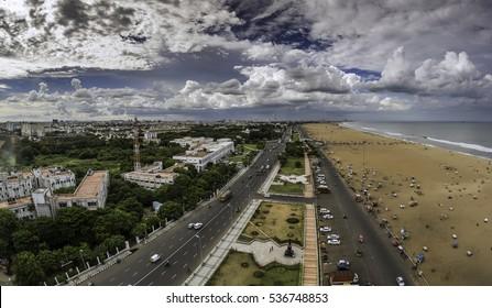 Panoramic view of Chennai from Marina Beach