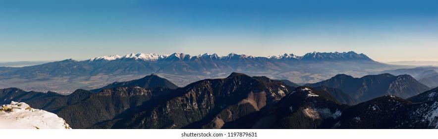 Panoramic view from Chopok, Low Tatras. High Tatras from peak Chopok in Low Tatras in autumn time. Panorama. Slovakia.