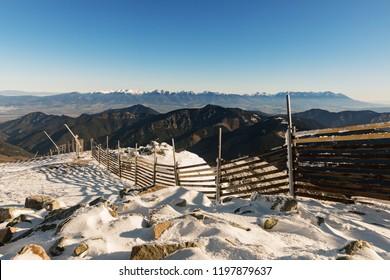 Panoramic view from Chopok, Low Tatras. High Tatras from peak Chopok in Low Tatras in autumn time. Slovakia.