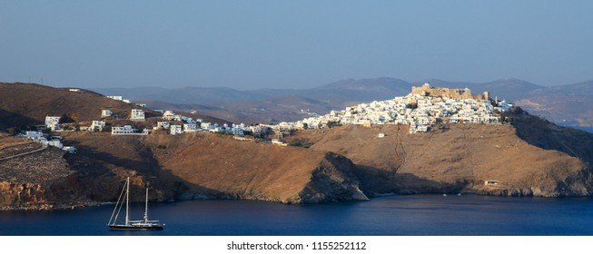 Panoramic view of the Chora village in Astypalaia, Greece
