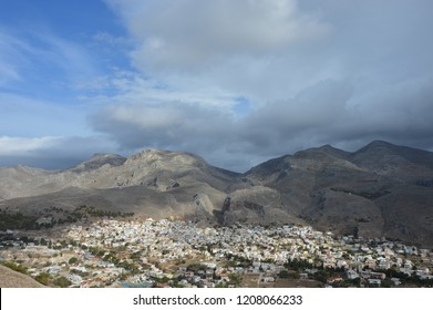 Panoramic view of Chora,Kalymnos Island,Greece. Chora is located 3 km northwest of Pothia and for many centuries was the capital of the island. Today Chora or Chorio is an extension of Pothia(Capital)