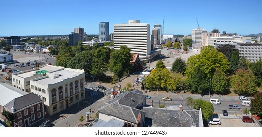 Panoramic view of the Christchurch (New Zealand) skyline. The majority of high rise buildings have been demolished following recent earthquakes. In the background are the ruins of the Cathedral.