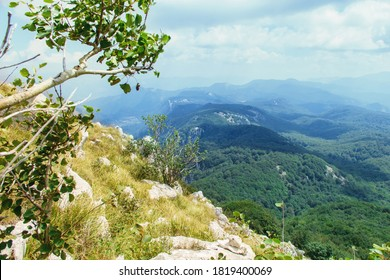 Panoramic view of Cilento National Park from Panormo mountain, Campania, Italy