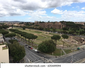 Panoramic view of Circus Maximus downtown Rome, Italy