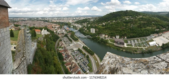 Panoramic view from the citadel of Besancon over the 'Le Doubs' river in Besancon, Bourgogne/France - August 25 - 2013