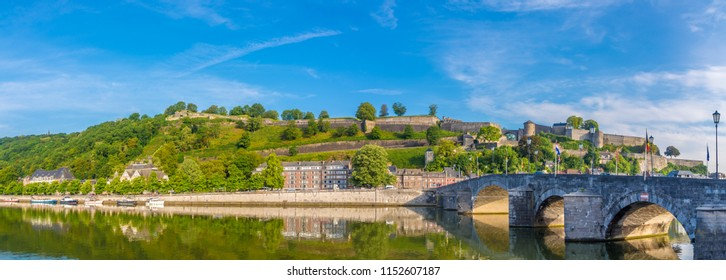 Panoramic view at the Citadel with Old bridge over Meuse river in Namur, Belgium
