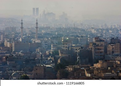 Panoramic view of the city of Aleppo, photographed by the Citadel. Syria before the war. Aleppo, Syria, Middle East. November 18, 2007.