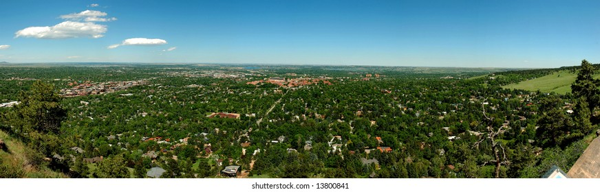 Panoramic view of the city of Boulder, Colorado. Typical architectural style of the area.