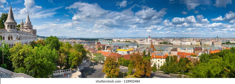 Panoramic view of city Budapest from Fisherman Bastion on the Buda Castle - the capital of Hungary