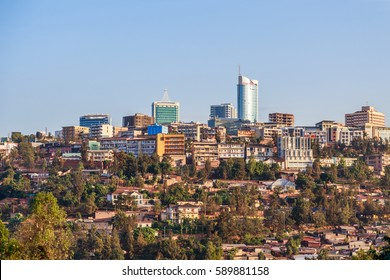 Panoramic view at the city business district of Kigali, Rwanda, 2016