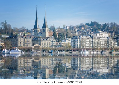Panoramic view of city center of Lucerne in daylight ,Switzerland