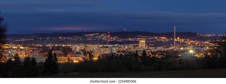 Panoramic view to city Ceske Budejovice at night