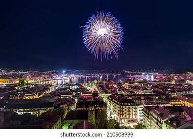 Panoramic view of city of Geneva, fireworks for the Swiss National Day
