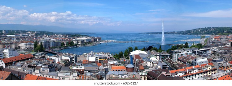 Panoramic view of city of Geneva, the Leman Lake and the Water Jet, in Switzerland, Europe, aerial view.