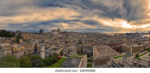 Panoramic view of the city of Genoa - Liguria - Italy