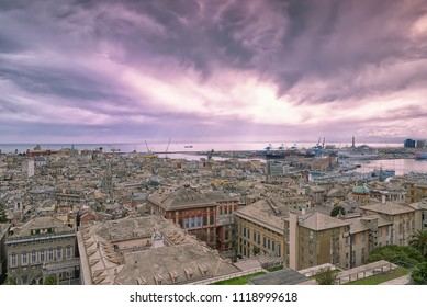 Panoramic view of the city of Genoa at sunset - Liguria - Italy