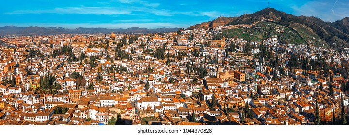 Panoramic View of the city of Granada and Neighborhood of the Albaicin from the Alhambra Watch Tower. Granada, Spain.