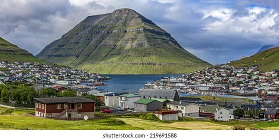 Panoramic View of the city of Klaksvik, Faroe Islands, Denmark, in the North Atlantic.