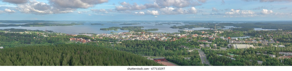 Panoramic view of the city of Kuopio, Finland from the Puijo tower