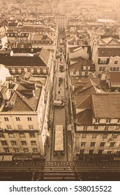 Panoramic view of the city of Lisbon, a detail of Lisbon streets, tourist city, Portugal