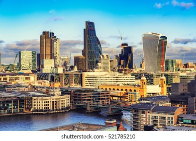 Panoramic View of City of London one of the leading centers of global finance.