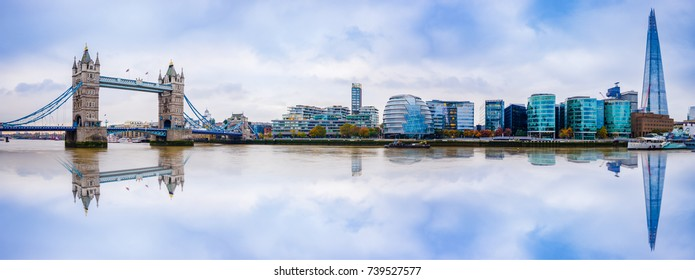 Panoramic View of City London with reflection