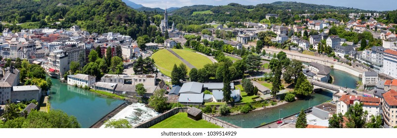 Panoramic view of the city Lourdes - the Sanctuary of Our Lady of Lourdes, the Hautes-Pyrenees department in the Occitanie region in south-western France