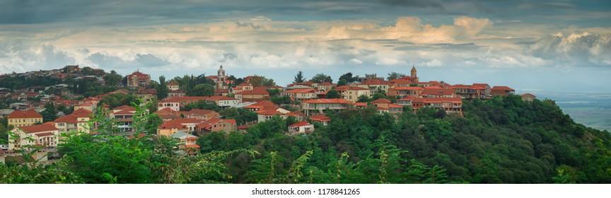 Panoramic view of the City of Love in Georgia. Signagi (Sighnaghi), Kakheti region