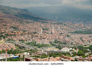 Panoramic view of the city of Medellin, Antioquia - Colombia. Puente Madre Laura.